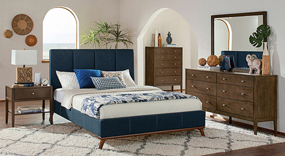 Charity   Bedroom Set Blue and Ash Brown