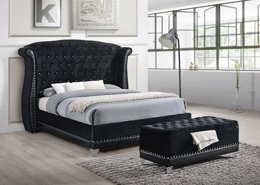 Barzini Black Upholstered Queen Bed - Hover
