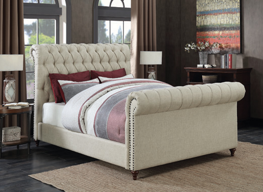 Gresham Eastern King Button Tufted Upholstered Bed Beige - Hover