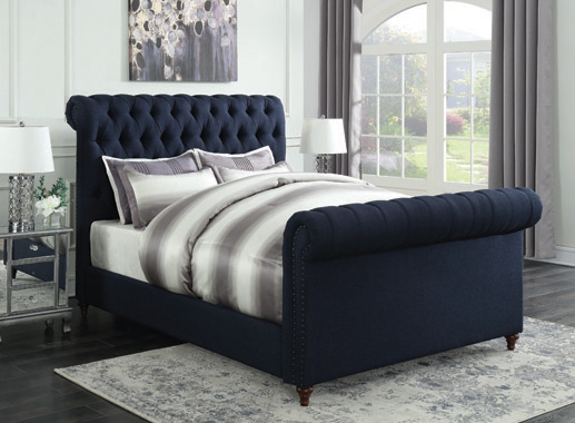 Gresham Button Eastern King Tufted Upholstered Bed Navy Blue - Hover