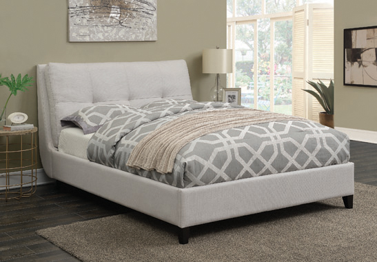 Amador Beige Upholstered Queen Platform Bed