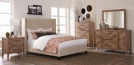 Benicia Demi-wing Upholstered Eastern King Bed Beige - Hover