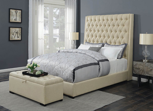 Camille California King Button Tufted Bed Cream - Hover