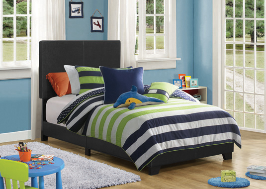 Dorian Upholstered Twin Bed Black - Hover