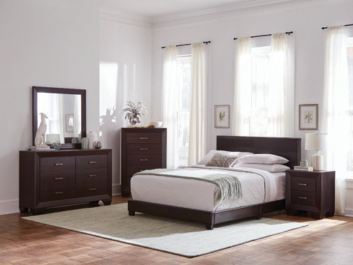 Dorian Upholstered California King Bed Brown - Hover