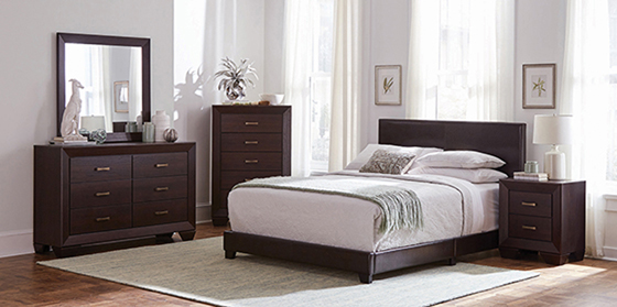 Dorian Upholstered Twin Bed Brown - Hover