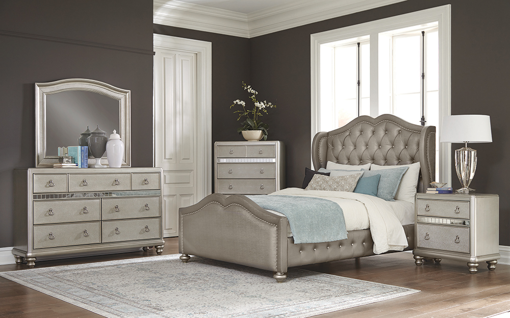 Belmont Tufted Upholstered Full Bed Metallic - Hover