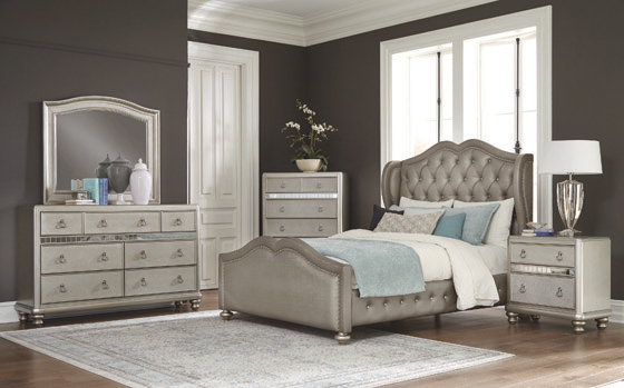 Belmont Tufted Upholstered Eastern King Bed Metallic - Hover