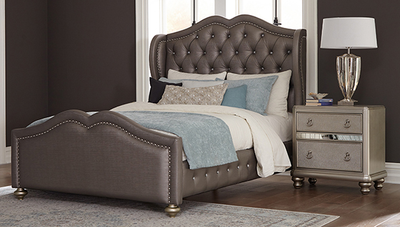 Belmont  Upholstered  Bedroom Set Metallic Platinum