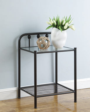Livingston 1-shelf Nightstand with Glass Top Dark Bronze - Hover