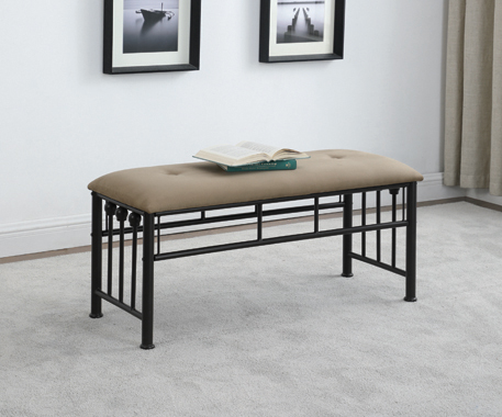 Livingston Upholstered Bench Brown and Dark Bronze - Hover