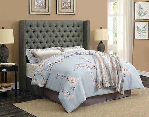 Bancroft Demi-wing Upholstered Queen Bed Grey - Hover