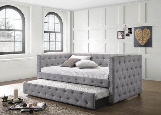 Mockern Tufted Upholstered Daybed with Trundle Grey - Hover