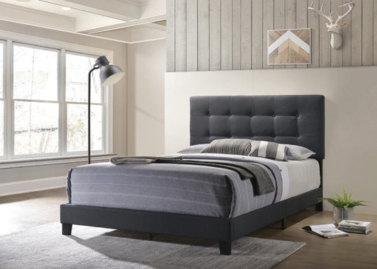 Mapes Tufted Upholstered Eastern King Bed Charcoal - Hover