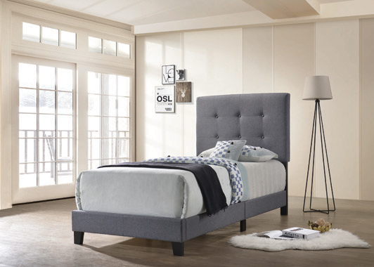 Mapes Tufted Upholstered Twin Bed Grey - Hover
