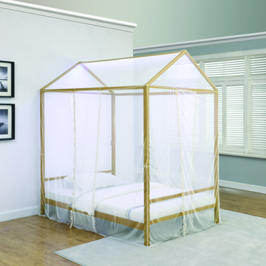 Altadena Full Canopy Bed with LED Lighting Matte Gold - Hover