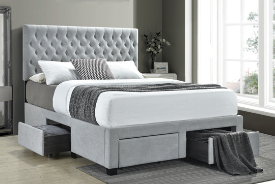 Shelburne Full 4-drawer Button Tufted Storage Bed Beige - Hover