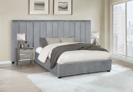 Arles Queen Vertical Channeled Tufted Bed Grey - Hover