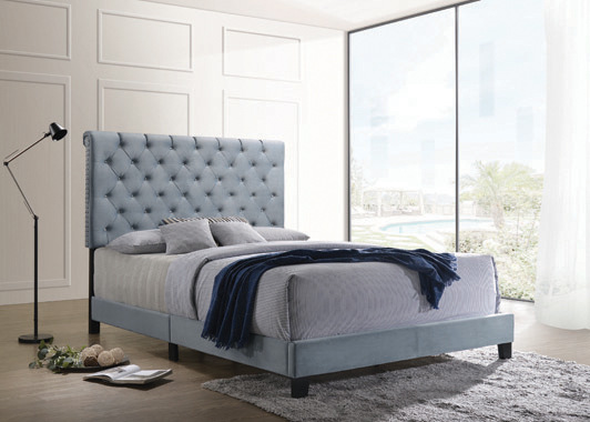 Warner Queen Upholstered Bed Slate Blue - Hover