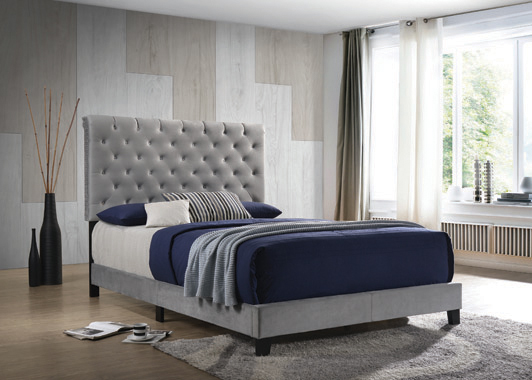 Warner Eastern King Upholstered Bed Grey - Hover