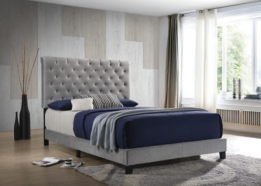 Warner Queen Upholstered Bed Grey - Hover