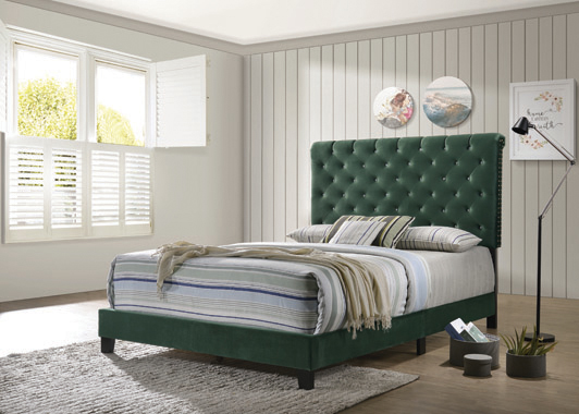 Warner Queen Upholstered Bed Green - Hover