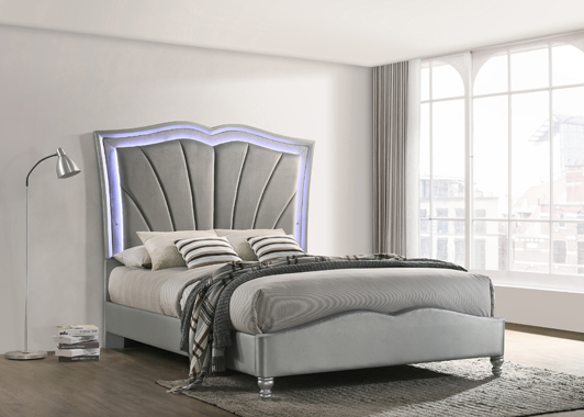 Bowfield Queen Upholstered Bed with LED Lighting Grey - Hover