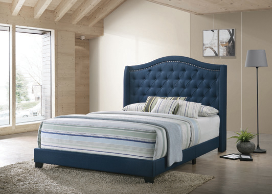 Sonoma Full Camel Headboard Bed with Nailhead Trim Blue - Hover