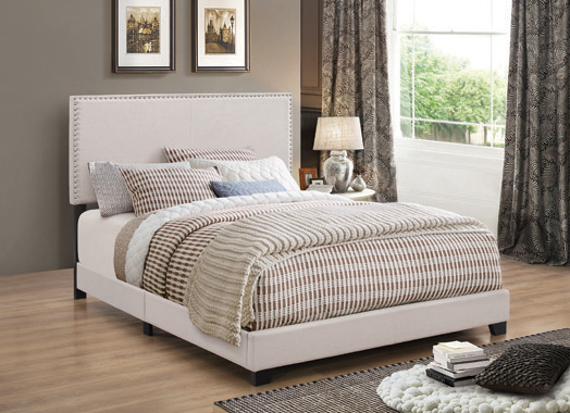 Boyd Eastern King Upholstered Bed with Nailhead Trim Ivory - Hover