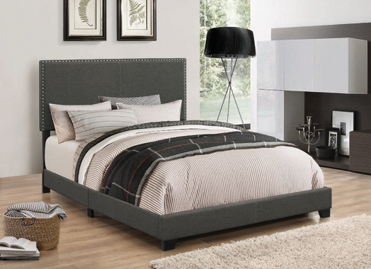 Boyd Full Upholstered Bed with Nailhead Trim Charcoal - Hover