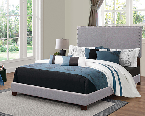 Boyd Eastern King Upholstered Bed with Nailhead Trim Grey - Hover