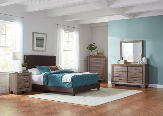 Boyd Queen Upholstered Bed with Nailhead Trim Brown - Hover