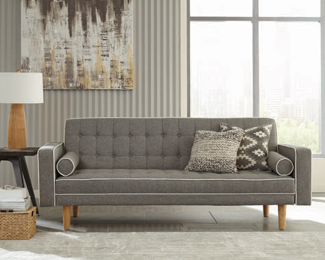 Lassen Tufted Upholstered Sofa Bed Grey - Hover