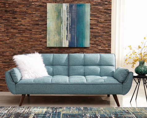 Caufield Biscuit-tufted Sofa Bed Turquoise Blue - Hover