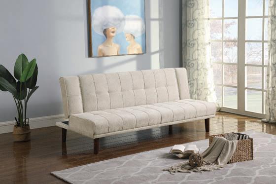 Joan Upholstered Sofa Bed Beige - Hover