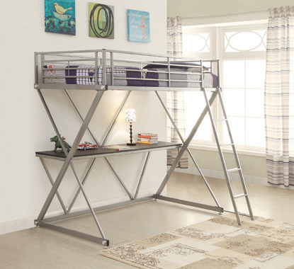 Hyde Twin Workstation Loft Bed Silver - Hover