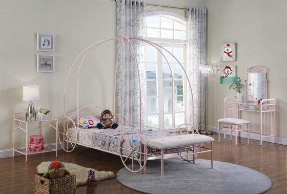 Massi Twin Canopy Bed Powder Pink - Hover