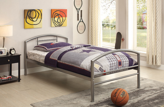 Baines Twin Metal Bed with Arched Headboard Silver - Hover