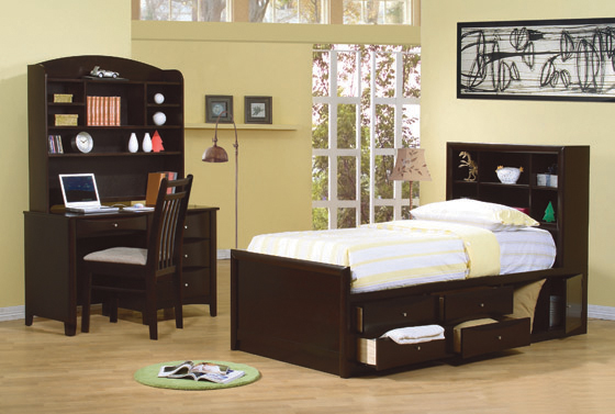 Phoenix Twin Bookcase Bed with Underbed Storage Cappuccino - Hover