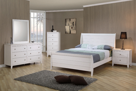 Selena Twin Sleigh Platform Bed White - Hover