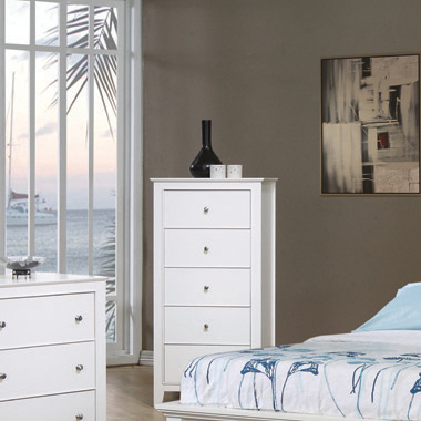 Selena 5-drawer Chest White
