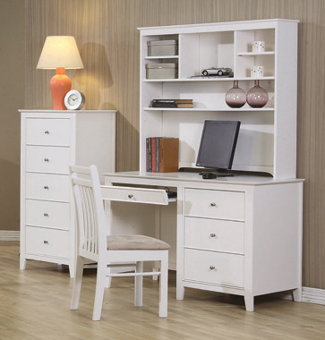 Selena 3-drawer Computer Desk Storage White - Hover