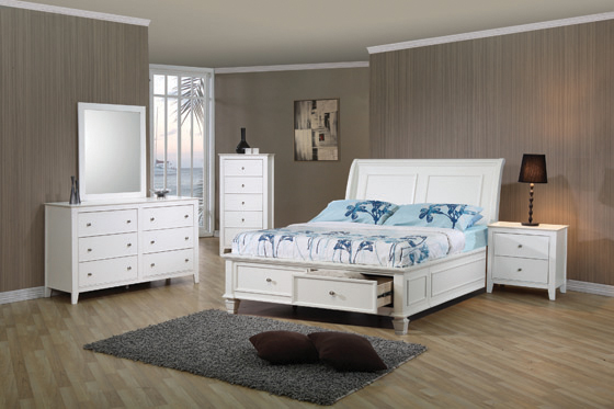 Selena Twin Sleigh Bed with Footboard Storage White - Hover