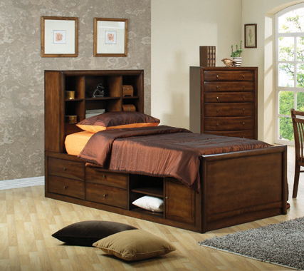 Hillary Full Bookcase Bed with Underbed Storage Warm Brown - Hover