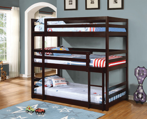 Sandler Twin Triple Bunk Bed Cappuccino - Hover