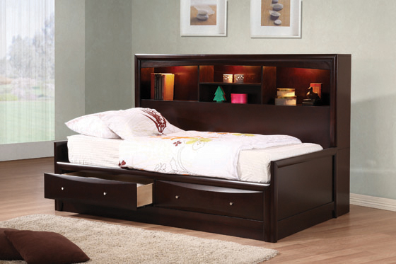 Phoenix Twin Daybed with Bookcase and Storage Drawers Cappuccino - Hover