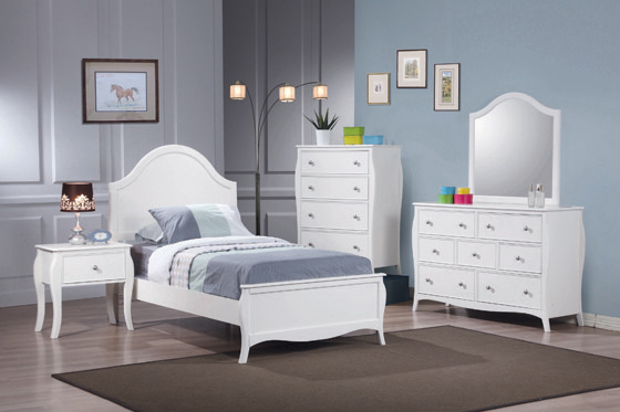 Dominique Full Panel Bed White - Hover