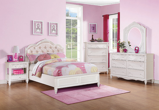 Caroline Full Upholstered Panel Bed Pink and White - Hover