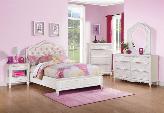 Caroline Twin Upholstered Panel Bed Pink and White - Hover