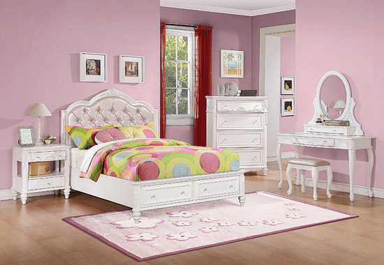 Caroline Full Upholstered Storage Bed Pink and White - Hover